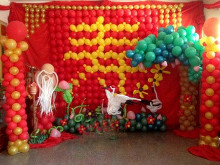 老人生日寿宴气球布置图片